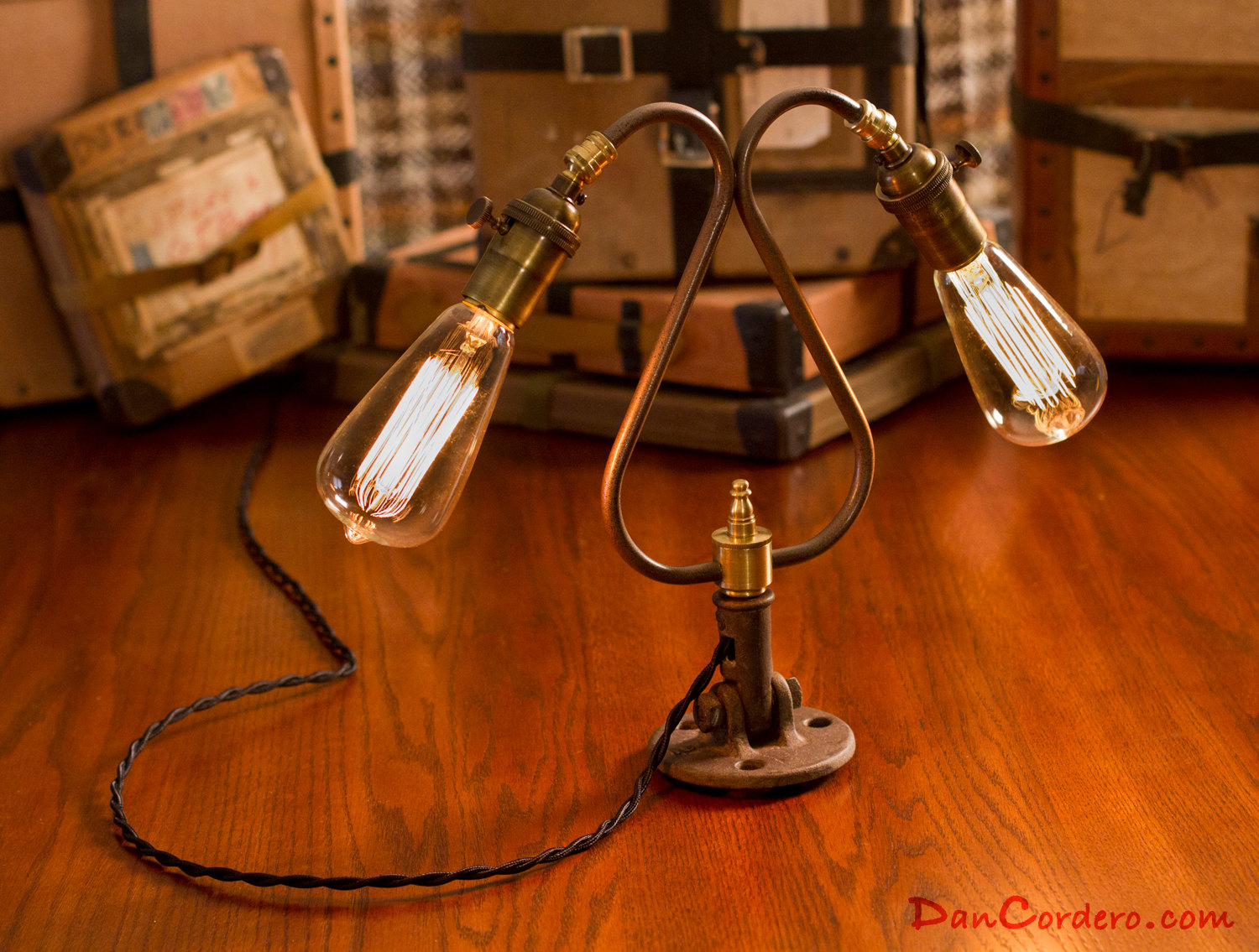 edison light bulb table lamp dual edison bulb table lamp. Black Bedroom Furniture Sets. Home Design Ideas