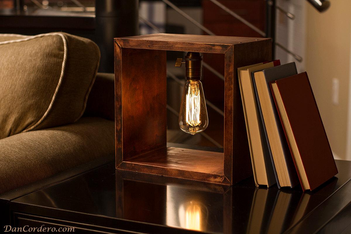 Shadow Box Edison Lamp, Table Lamp, Desk Lamp, Edison Light