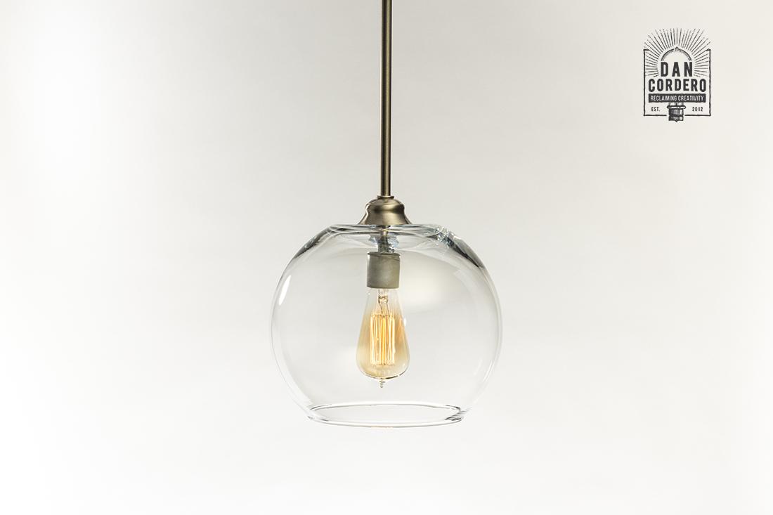 Glass Pendant Light Fixture Large Globe Shade Brushed