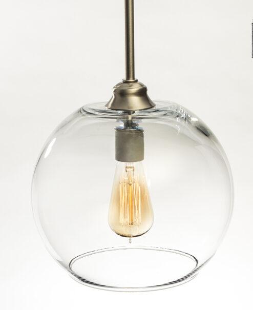 Glass Pendant Light Fixture Large Globe Shade Brushed Nickel