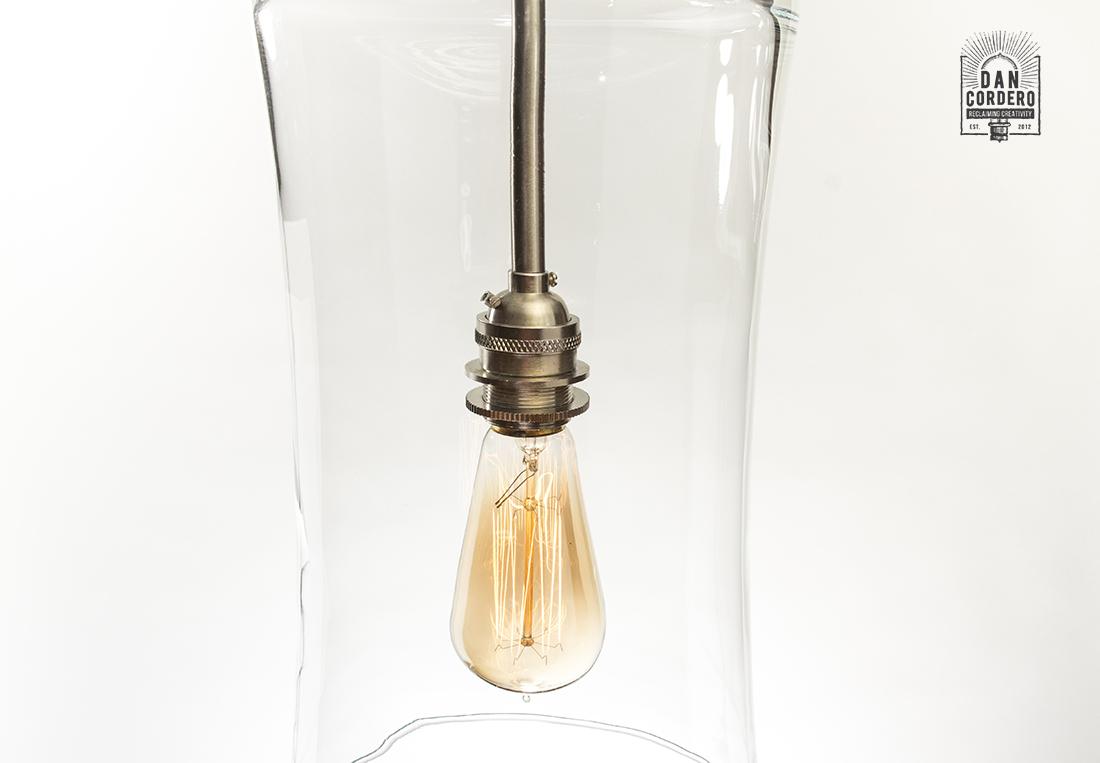 Glass Pendant Light Fixture Drum Shade Brushed Nickel