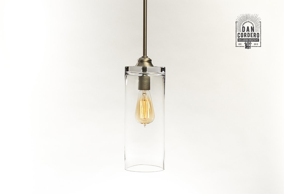 Picture of: Glass Pendant Light Fixture Cylinder Edison Bulb Brushed Nickel