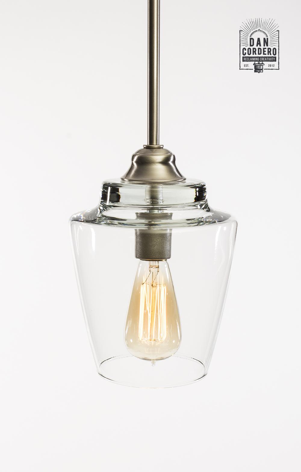 online retailer 83668 b1093 Glass Pendant Light Fixture   2 Finishes   Small Hurricane Shade