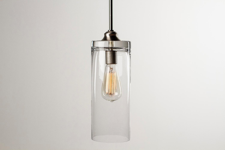 pendant light fixture edison bulb brushed nickel cylinder