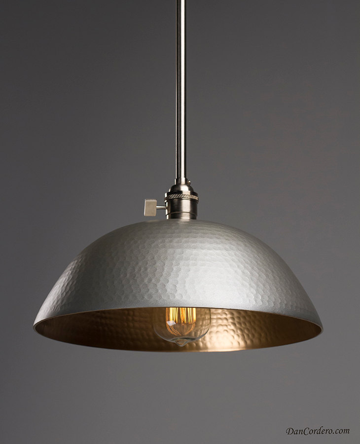 Hammered Gold Amp Brushed Nickel Edison Bulb Pendant Light