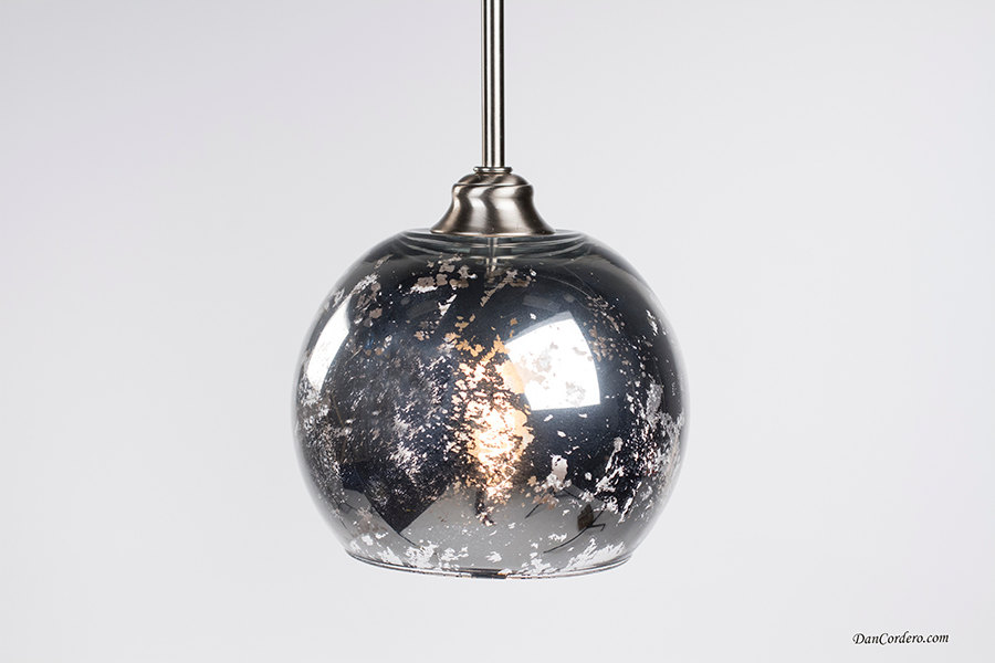 Mercury Glass Pendant Light Fixture Small Globe Shade