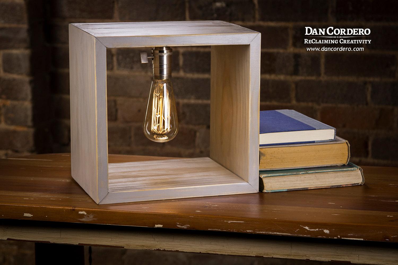 Shadow Box Edison Lamp Driftwood Stain Edison Lamp