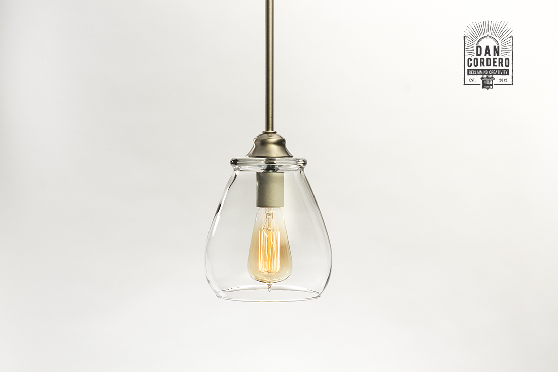 Glass Pendant Light Fixture Pear Brushed Nickel Oil