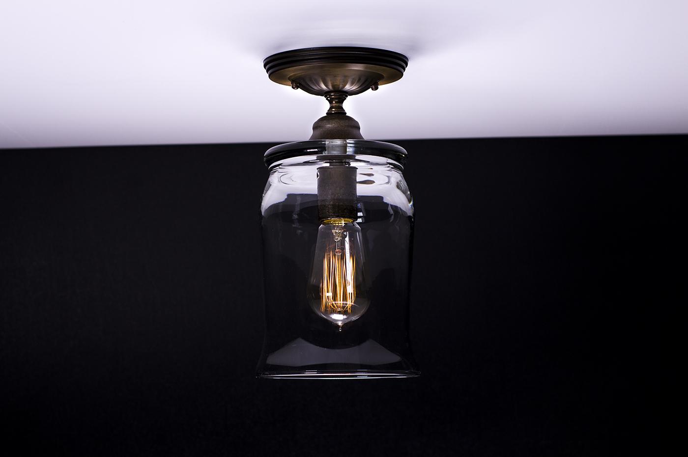 Ceiling Lights Edison : Flush ceiling mount edison light fixture oil rubbed