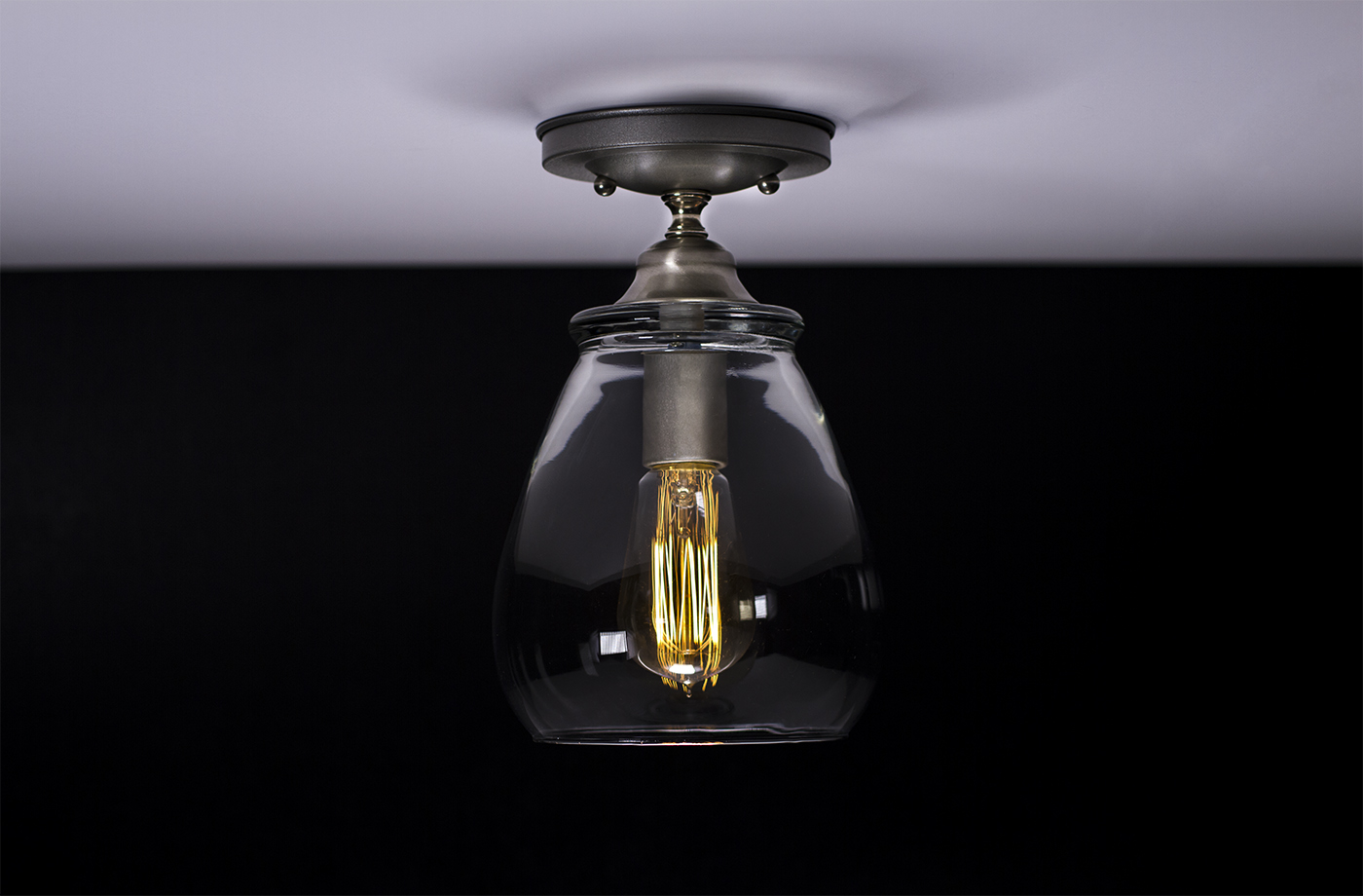 Ceiling Lights Edison : Flush ceiling mount edison light fixture brushed