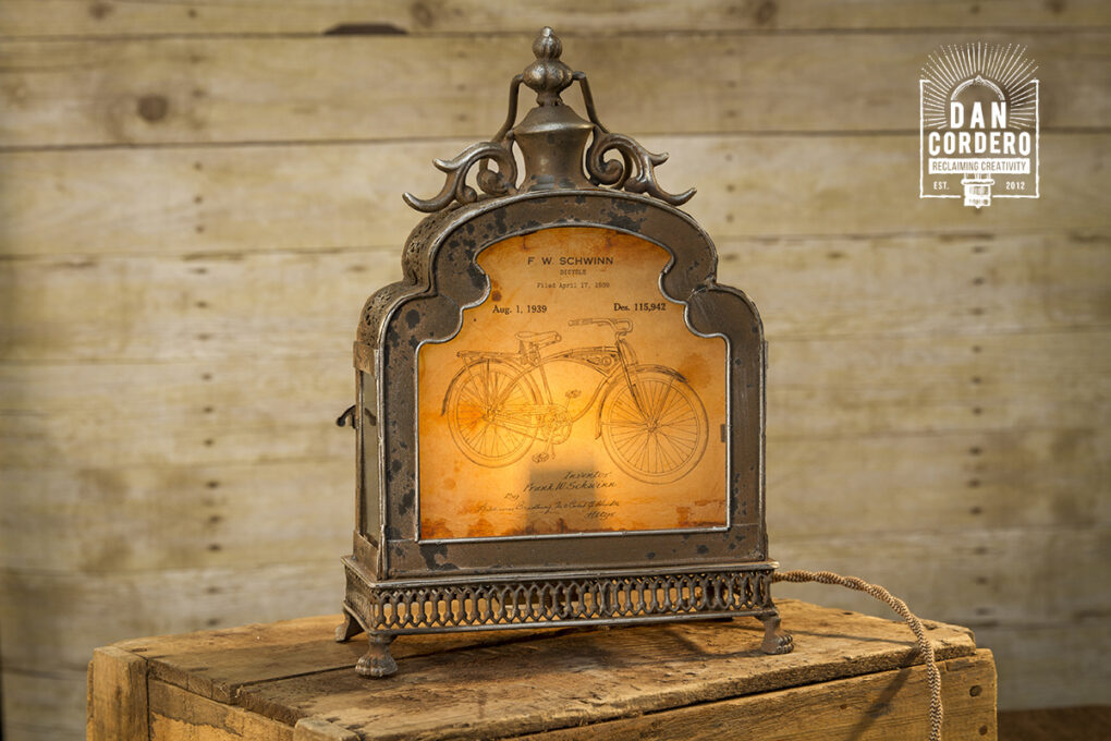 Vintage Bicycle Patent Lantern Lamp