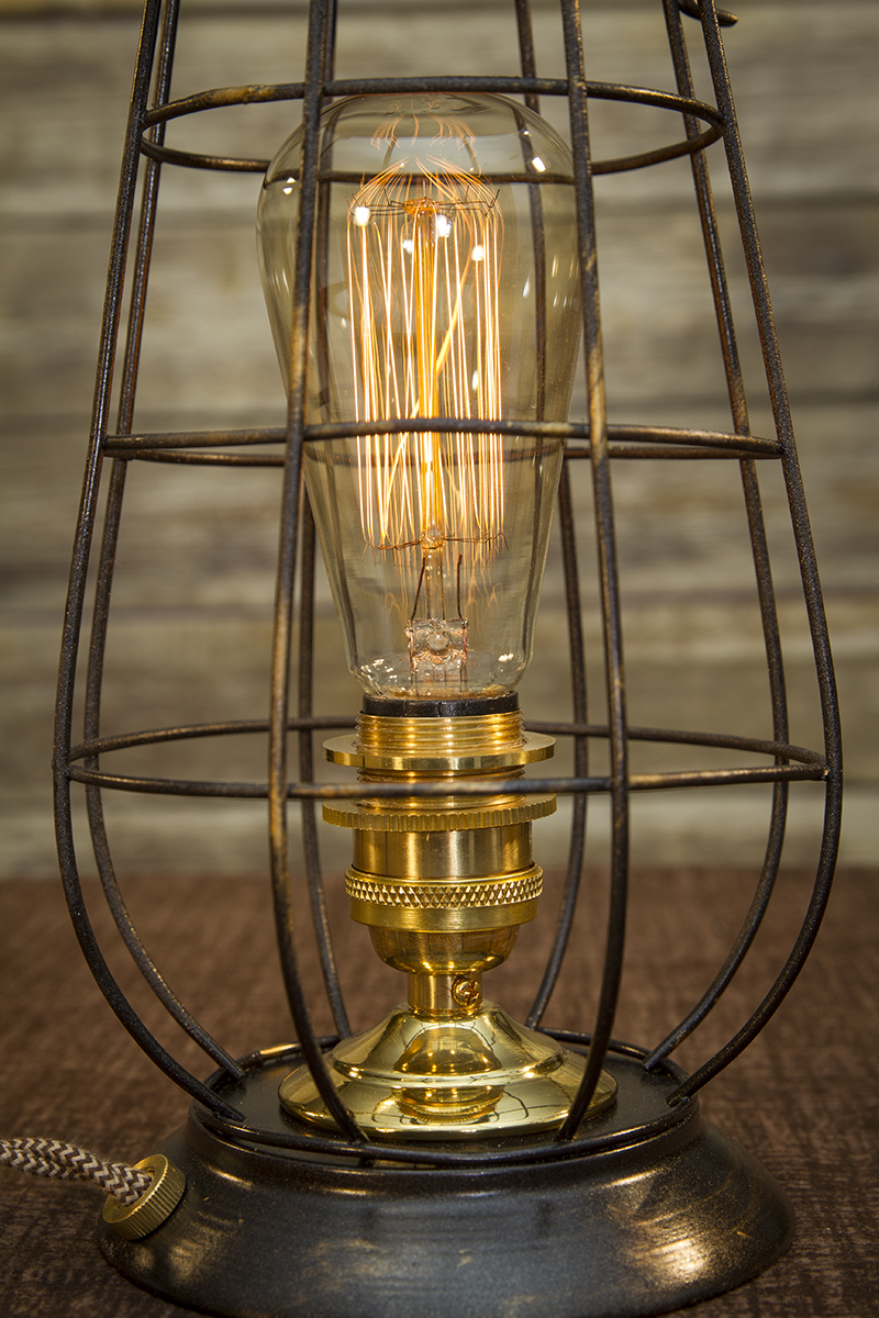 Edison Metal Lantern Table Lamp Polished Brass Desk Lamp