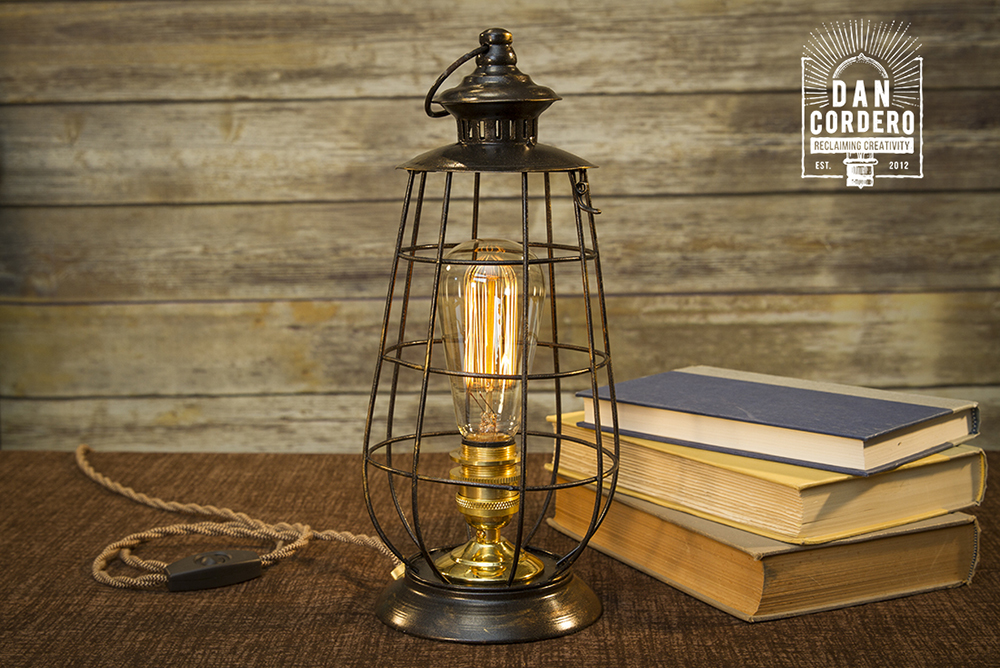 Edison Metal Lantern Table Lamp Polished Brass Desk Lamp