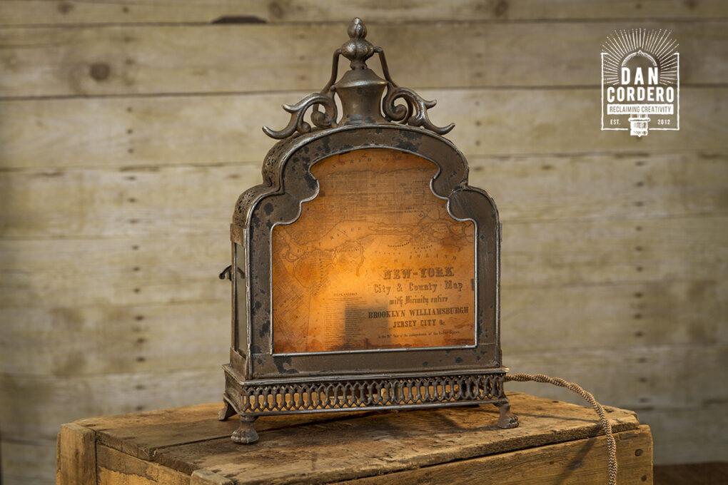 Vintage New York Map Lantern Lamp