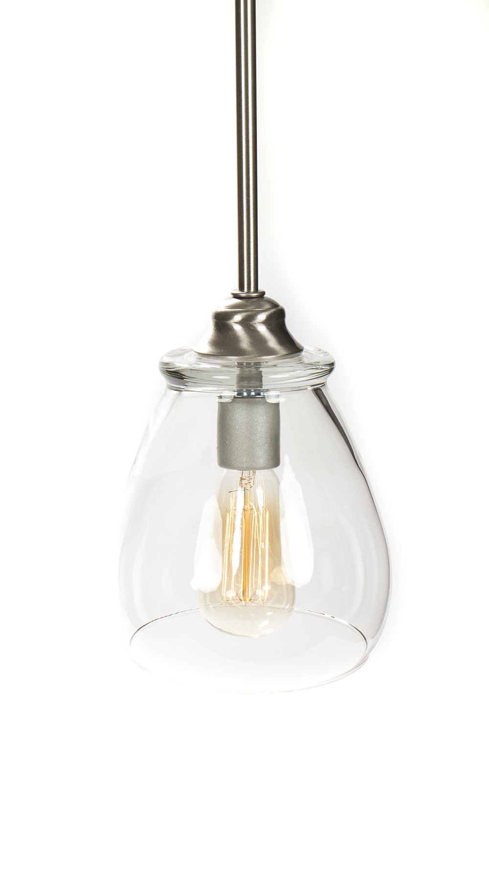 Pendant Light Bulb Type : Pendant light fixture edison bulb brushed nickel
