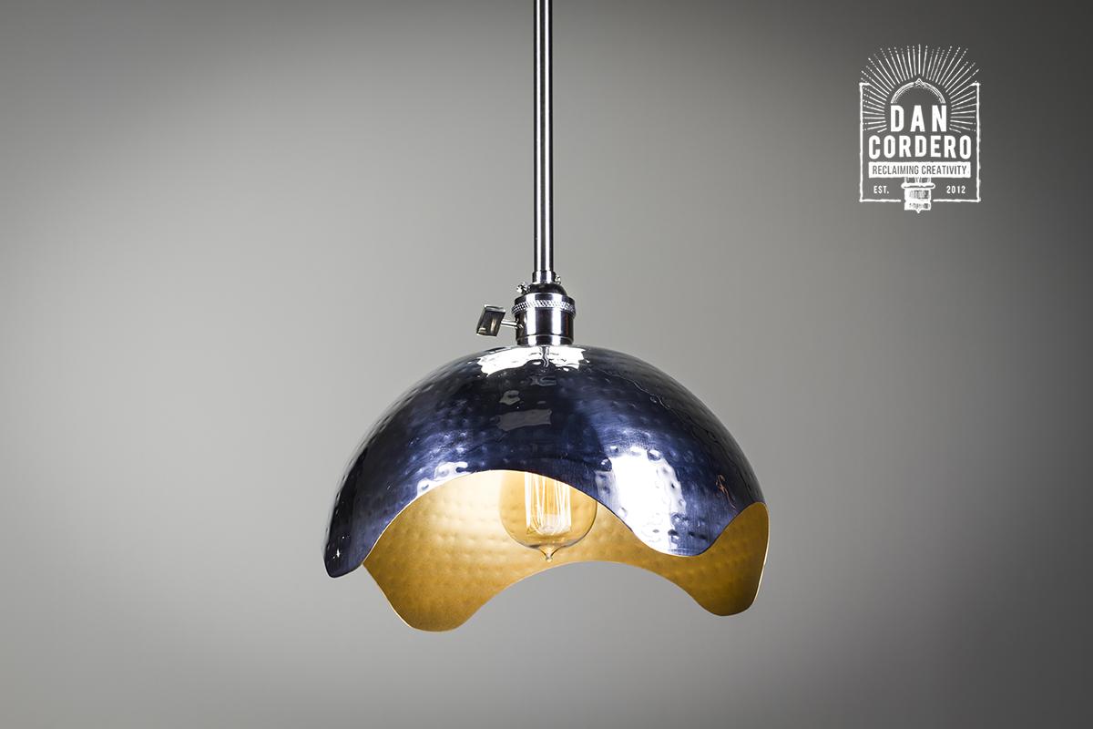 Hammered Gold Brushed Nickel Edison Bulb Pendant Light