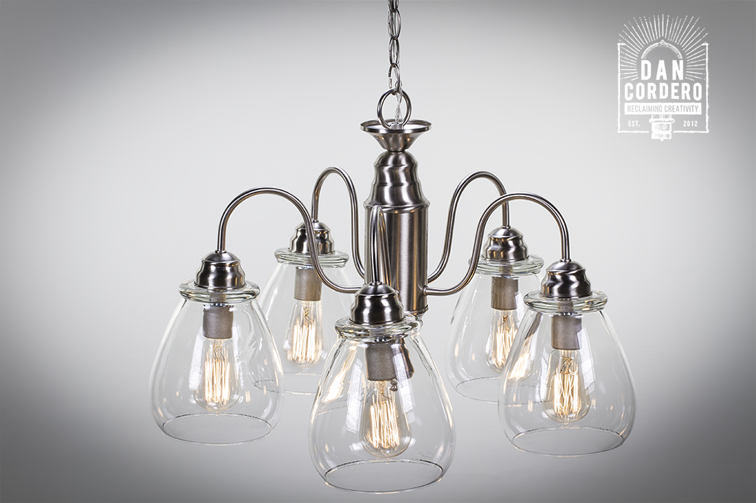 Edison Light Bulb Chandelier   Glass Shade: Pear   Dan Cordero