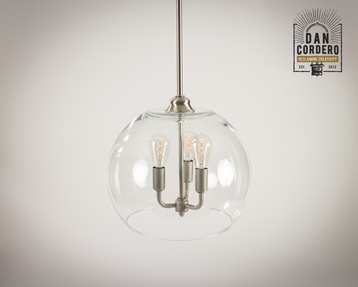 Gl Pendant Light Fixture Xl Globe Shade