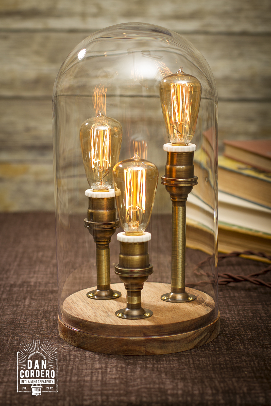 Edison Bell Jar Lamp Antique Br Finish