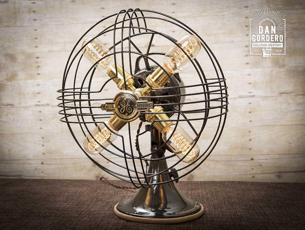 Vintage Fan Table Lamp Desk Lamp Ge Model Steampunk