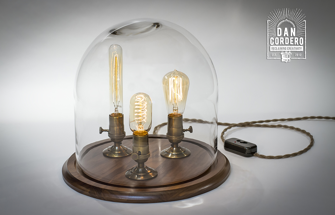 Edison Bell Jar Lamp Walnut Base Xl Dan Cordero