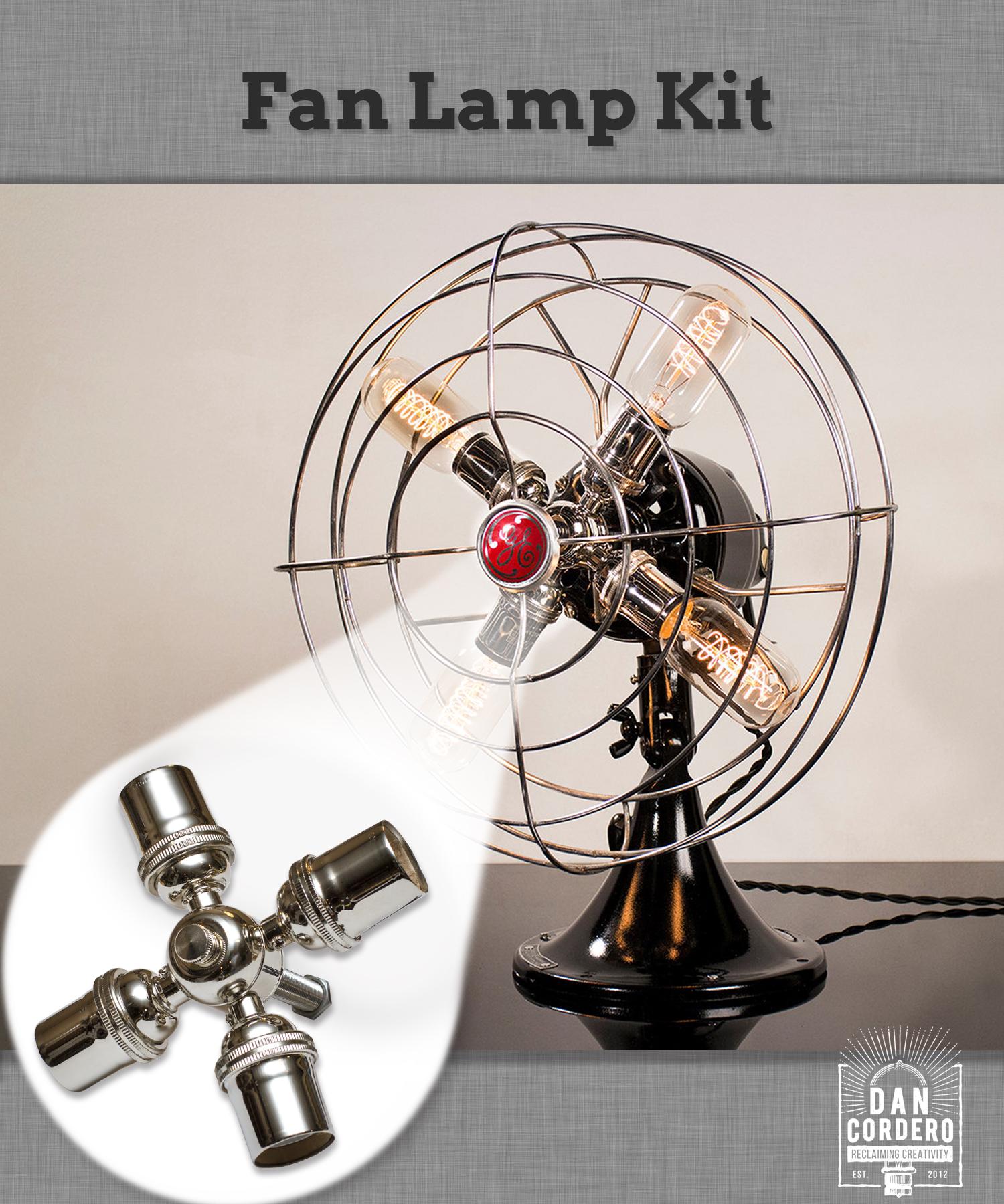 Edison Bulb Fan Floor Lamp: Fan Lamp Kit, DIY Kit, How To, Lamp Parts, Lamp Supplies