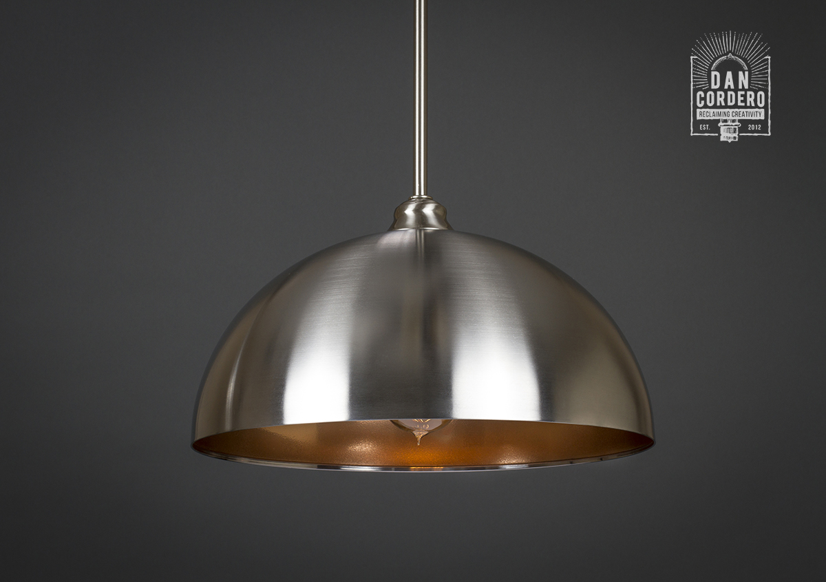 Brushed Nickel Amp Copper Dome Edison Bulb Pendant Light