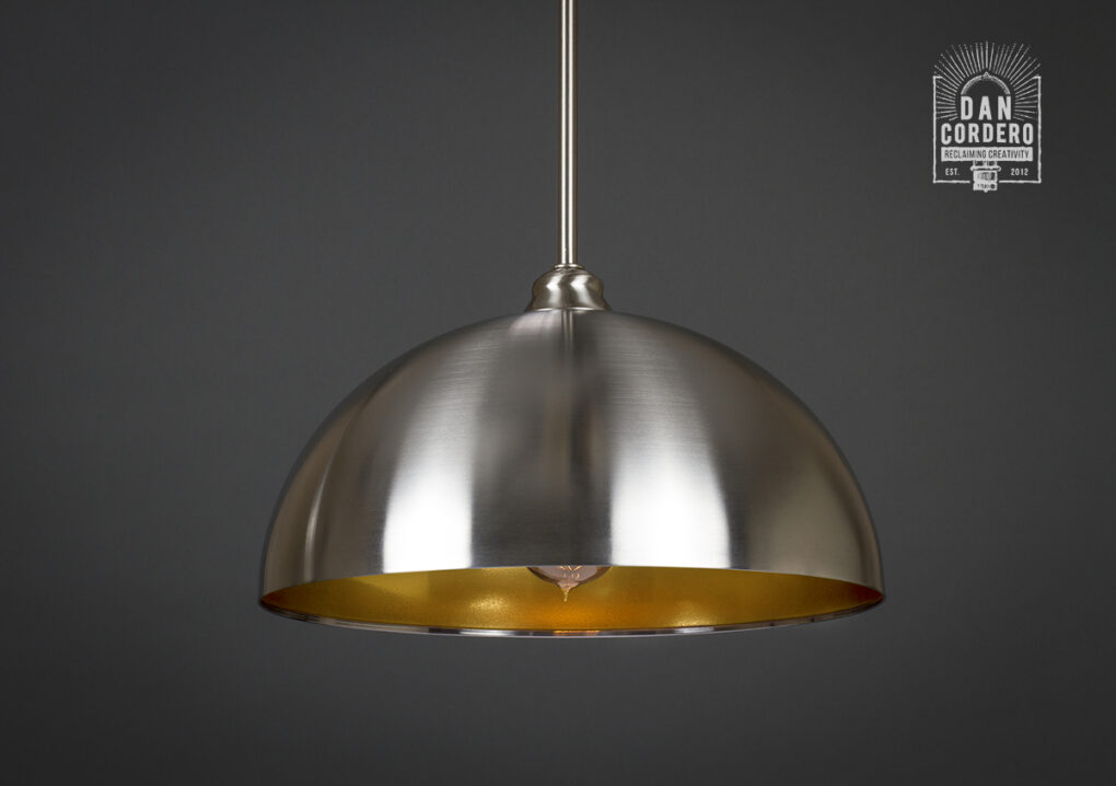 Brushed Nickel and Gold Dome Pendant Light Fixture