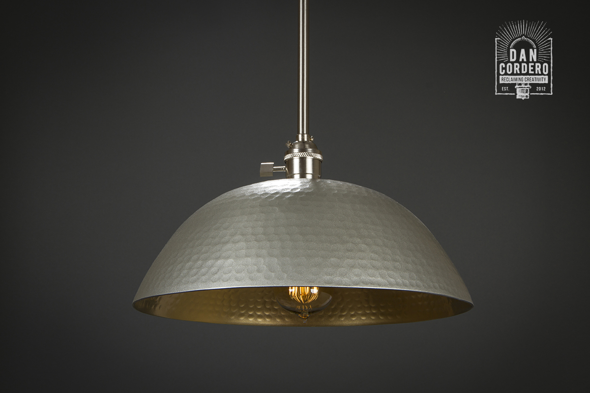 Hammered Pendant Light Fixture Brushed Nickel Amp Gold