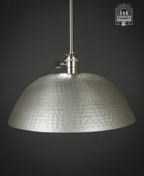 Hammered Pendant Light Fixture Brushed Nickel Gold Large Shade
