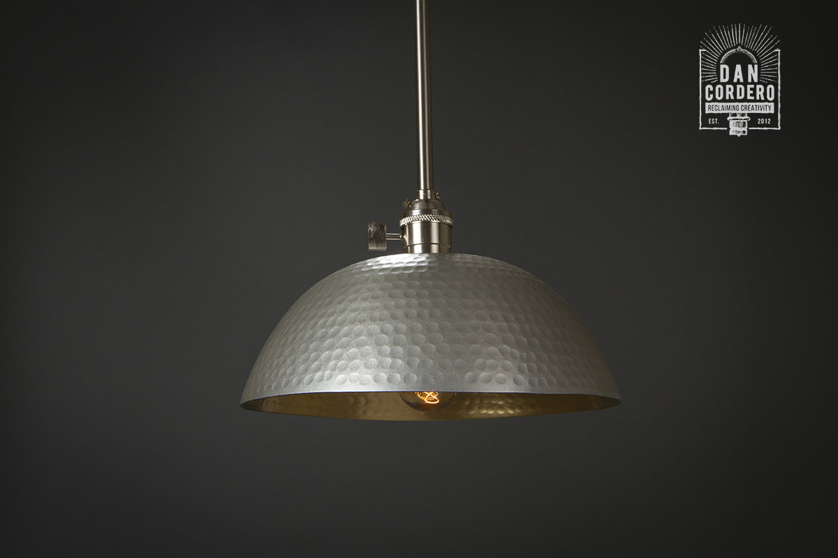 Hammered Pendant Light Fixture Small Shade Edison