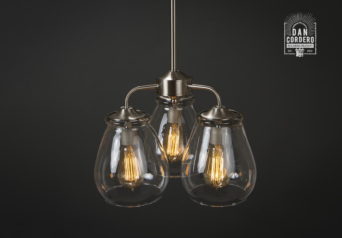 Edison bulb chandelier brushed nickel edison bulb glass shade edison bulb chandelier mozeypictures Gallery