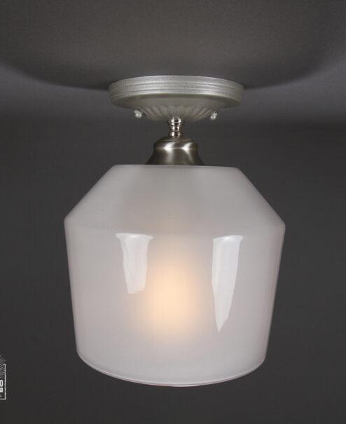 Semi Flush Light Fixture Milk Funnel Shade Brushed Nickel