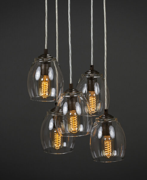 Glass Pendant Light Fixture - 5-Port Canopy