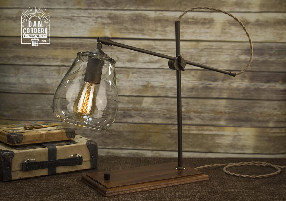 Glass Shade Table Lamp Desk Lamp Edison Bulb Walnut Wood