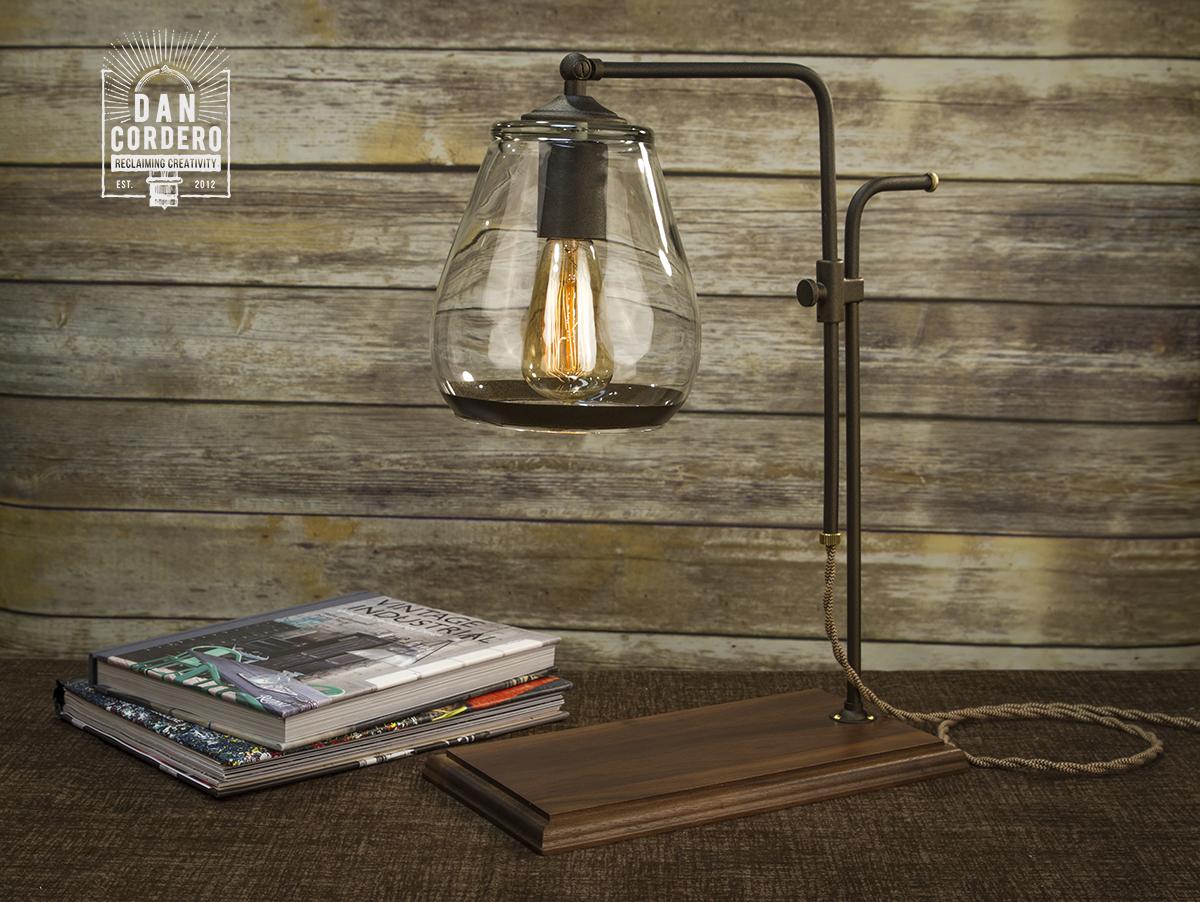 Edison Bulb Industrial Table Lamp Desk Lamp Walnut Wood
