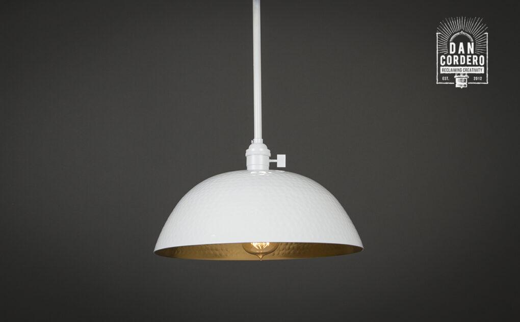 White Hammered Pendant Light Fixture