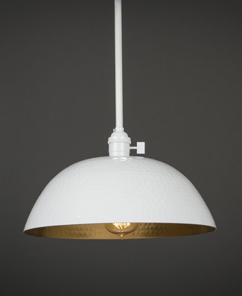 White Hammered Pendant Light Fixture