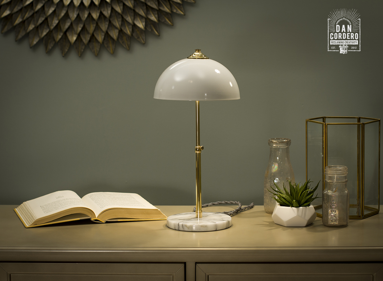 Marble Table Lamp Desk Lamp Polished Brass White