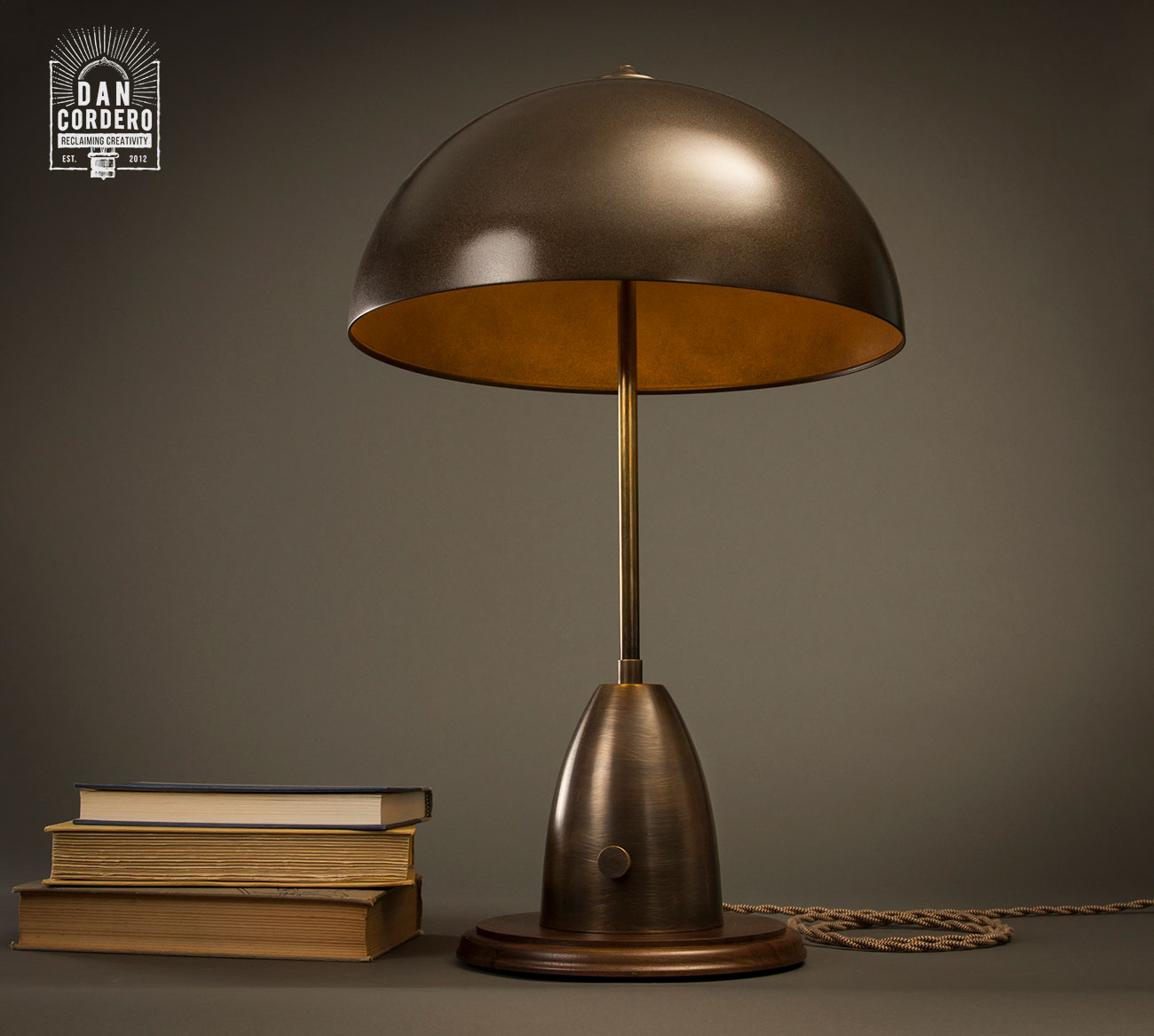 Aged Brass Dome Table Lamp Desk Lamp Industrial Lamp