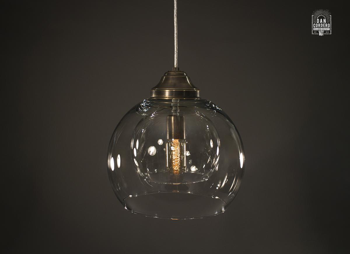 Double Globe Glass Pendant | Aged Brass | Pendant Light Fixture