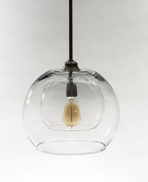 Glass Pendant Light Fixture Double Globe Brushed Nickel