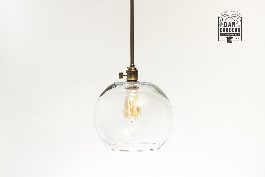 Glass Pendant Light Fixture Turn Knob Large Globe Shade