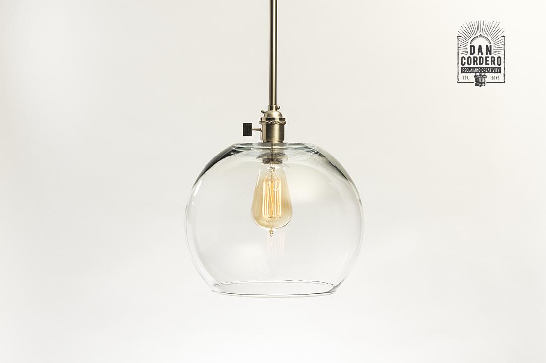 Glass Pendant Light Fixture Turn Knob Nickel Large Globe Shade