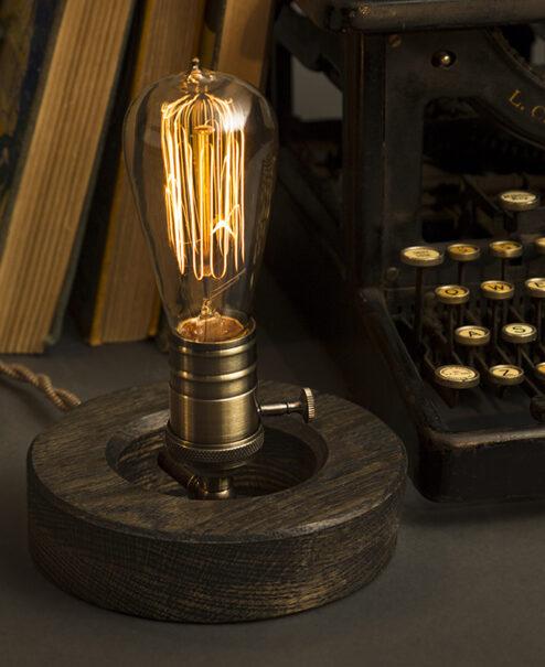 Wooden Edison Table Lamp