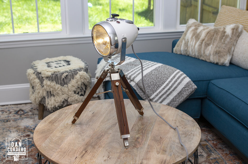 Vintage Motorcycle Headlight Table Lamp