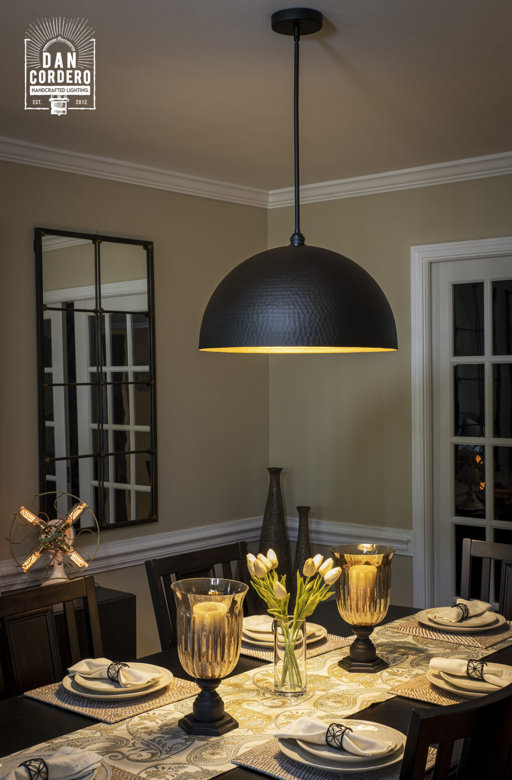 Black Hammered Dome Light