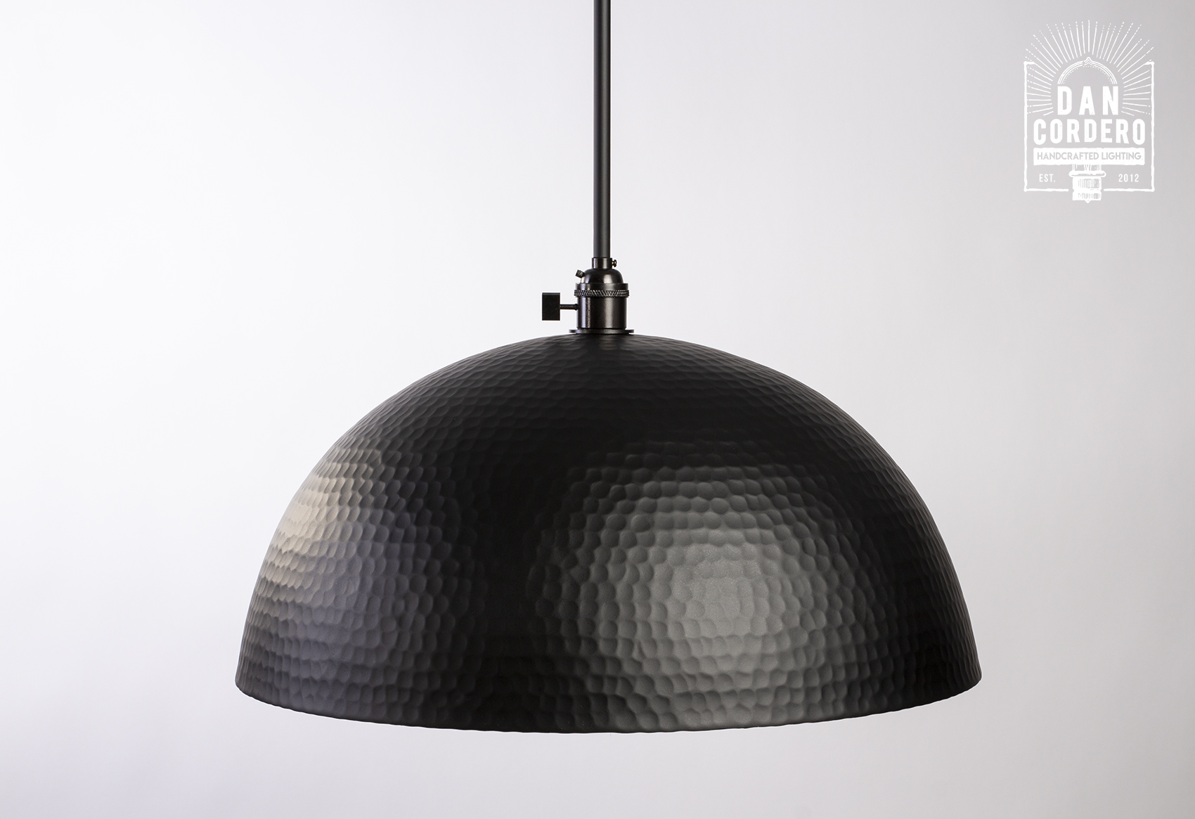 Black Hammered Dome Flat Pendant Light Fixture