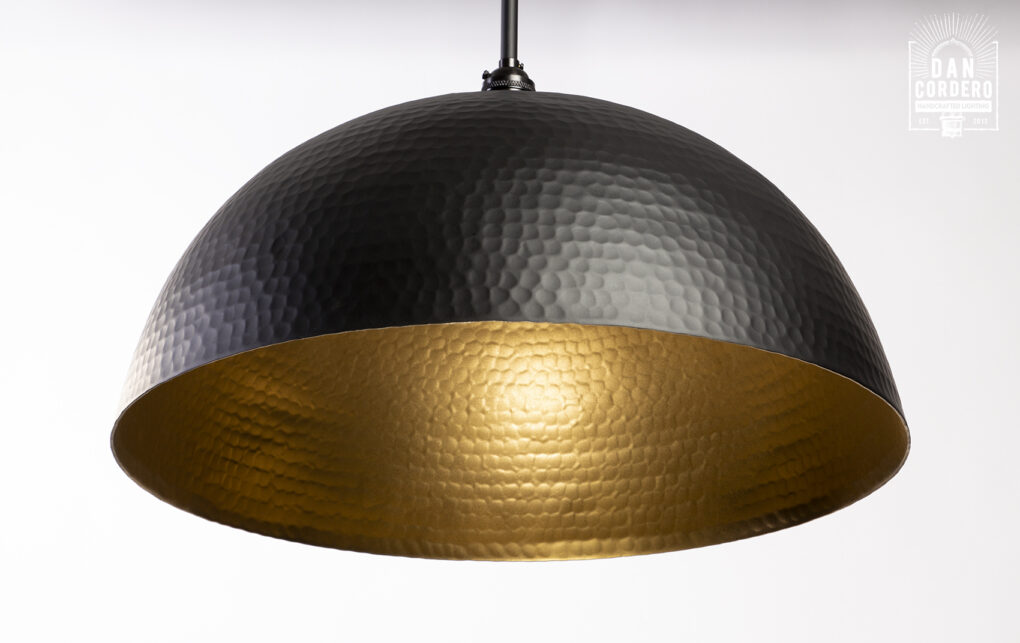 Flat Black Dome Pendant Light Fixture