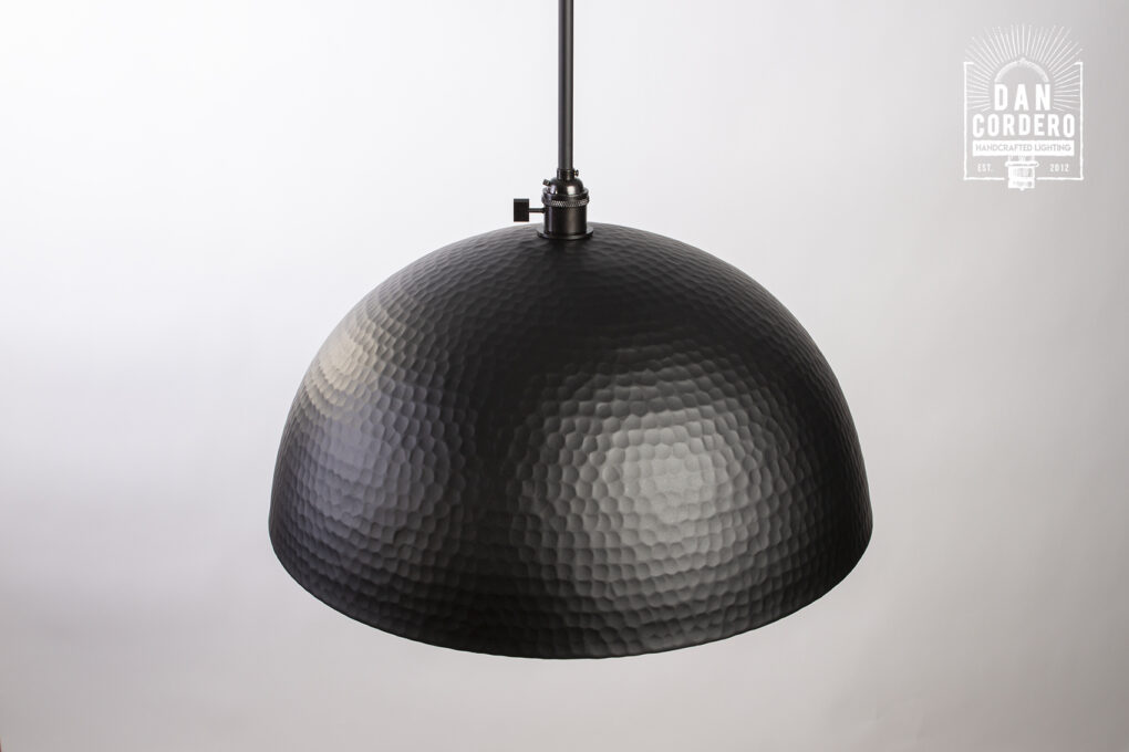 Oversized Black Hammered Pendant Light Fixture